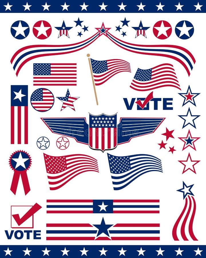 patriotiska amerikanska element royaltyfri illustrationer