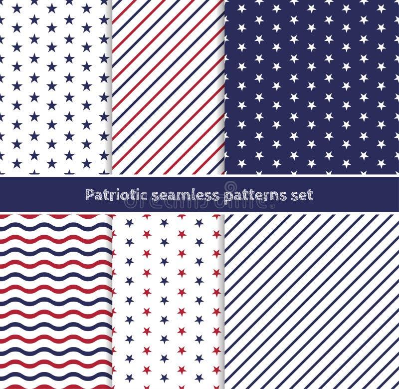 Patriotiska amerikanska sömlösa modeller ställde in med band och stjärnor i traditionella röda, blåa och vita färger stock illustrationer