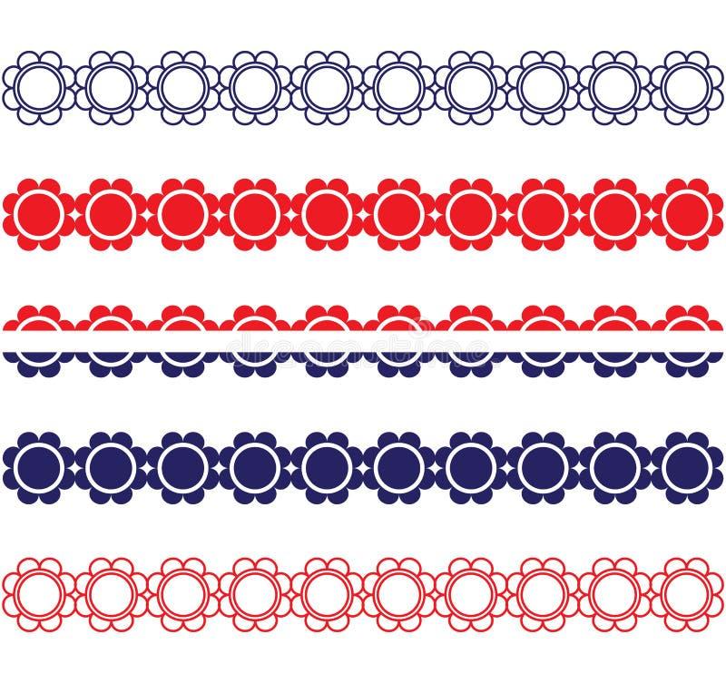 Patriotiska blommagränser royaltyfri illustrationer