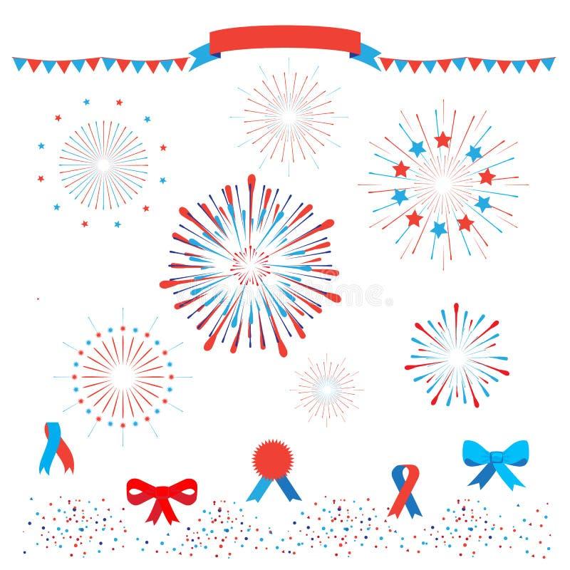 patriotiska fyrverkerier vektor illustrationer