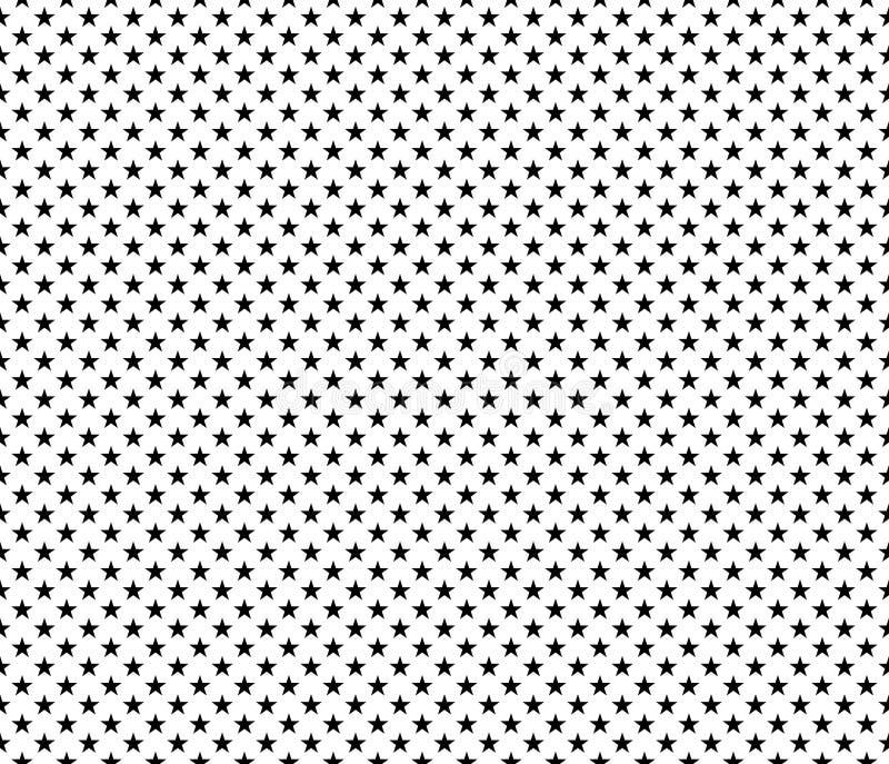 Patriotiska sömlösa modellsvartstjärnor på vit bakgrund vektor illustrationer