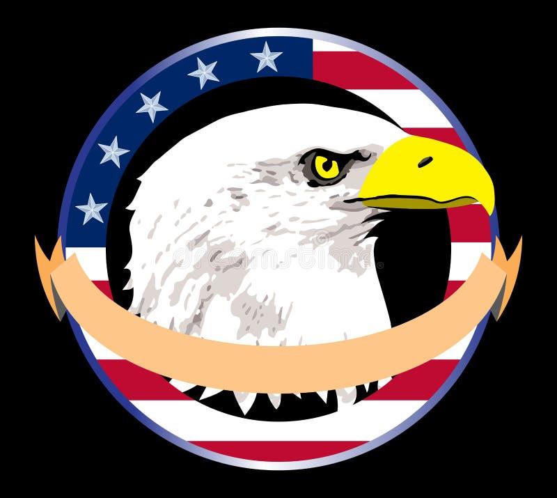 Patriotiska skalliga Eagle Head Logo Illustration stock illustrationer