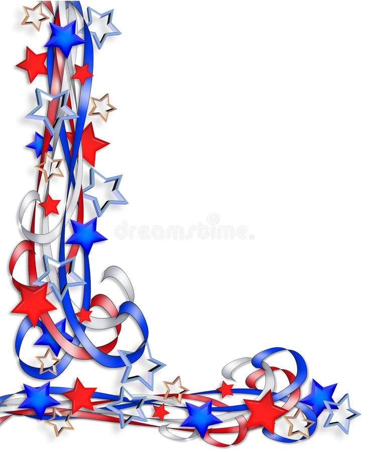 patriotiska stjärnaband för kant royaltyfri illustrationer