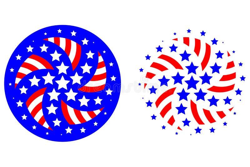 patriotiska stjärnaband för logoer royaltyfri illustrationer