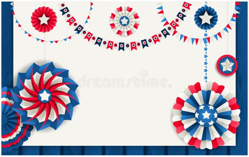 Patriotiskt baner med pappers- små solar och festoons royaltyfri illustrationer