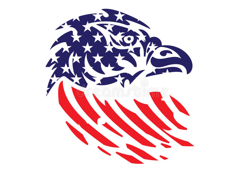Patriotiskt Eagle Bald Hawk Head Vector för USA flagga objekt royaltyfri fotografi