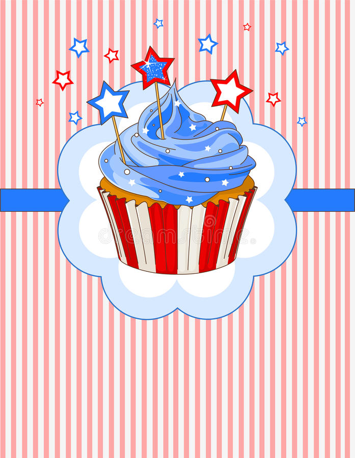 Patriotiskt muffinställekort stock illustrationer