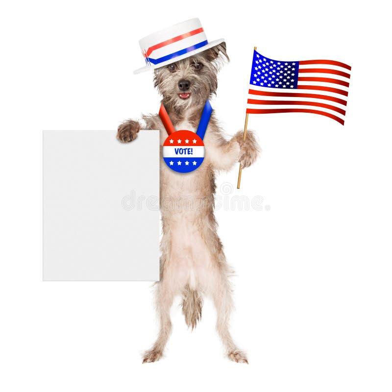 Patriotiskt tecken för hundväljaremellanrum fotografering för bildbyråer