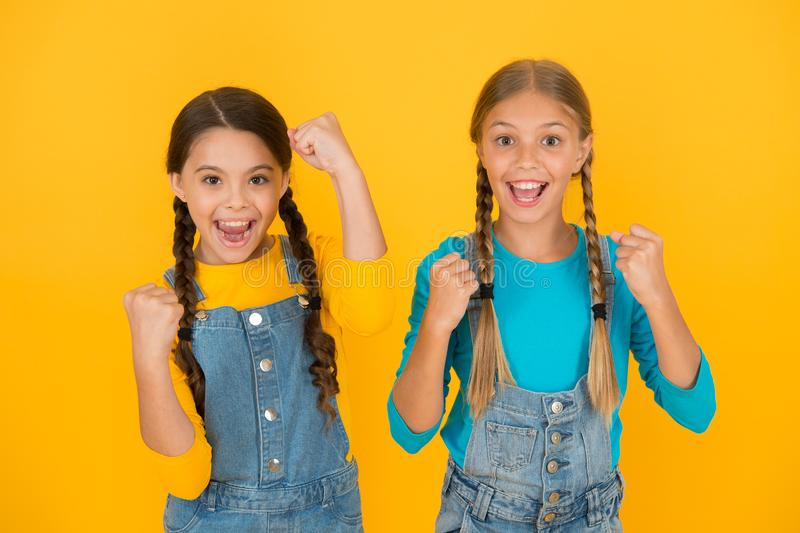 Patriotism concept. Girls with blue and yellow clothes. Patriotic upbringing. Independence day. Children ukrainian young. Generation. We are ukrainians royalty free stock images