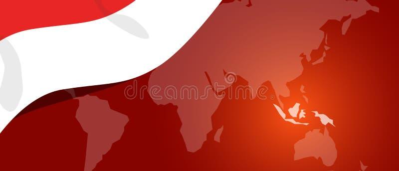 Patriotism för baner för teplate för läge för värld för Indonesien översiktsflagga röd vit royaltyfri illustrationer