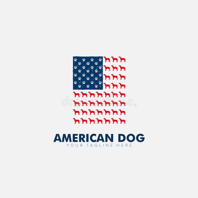 Patriotismus American Flag and Hund Logo Designs für T-Shirt vektor abbildung