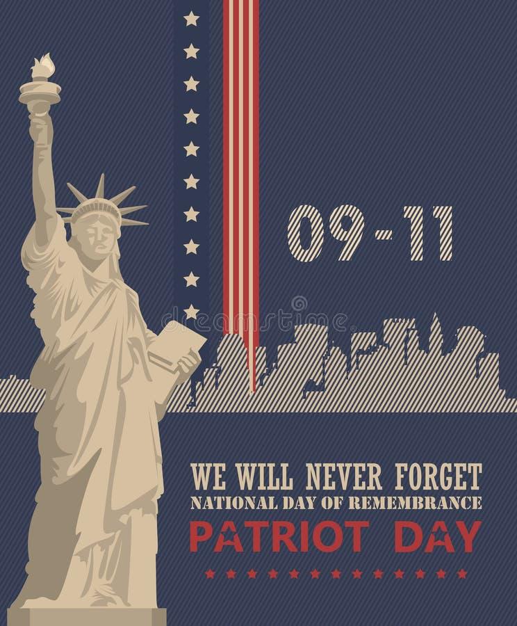 Patriottagesvektorplakat mit Freiheitsstatuen 11. September 9 / 11 mit Twin Towern vektor abbildung