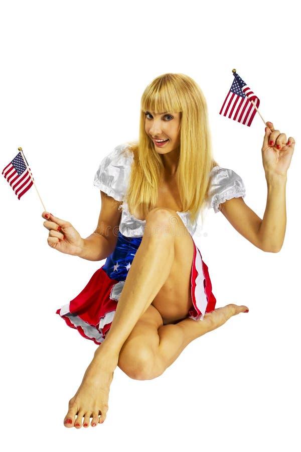 Patriottisch Amerikaans Meisje met twee vlaggen royalty-vrije stock foto