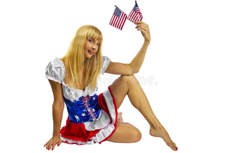 Patriottisch Amerikaans Meisje met twee vlaggen royalty-vrije stock afbeeldingen