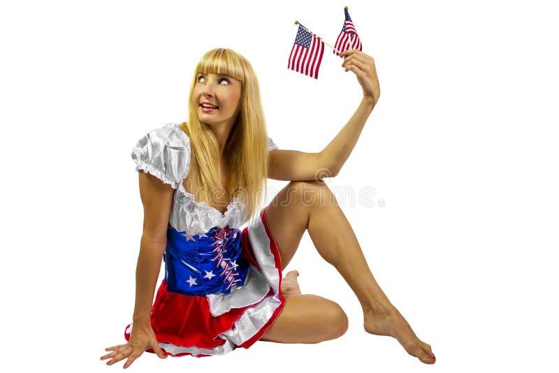 Patriottisch Amerikaans Meisje met twee vlaggen stock afbeelding