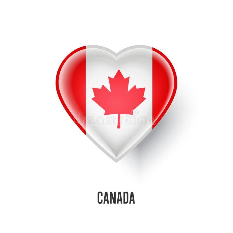 Patriottisch hartsymbool met de vlag van Canada vector illustratie