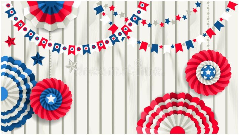 Patriottisch malplaatje met document vuurraderen die op houten omheining hangen stock illustratie