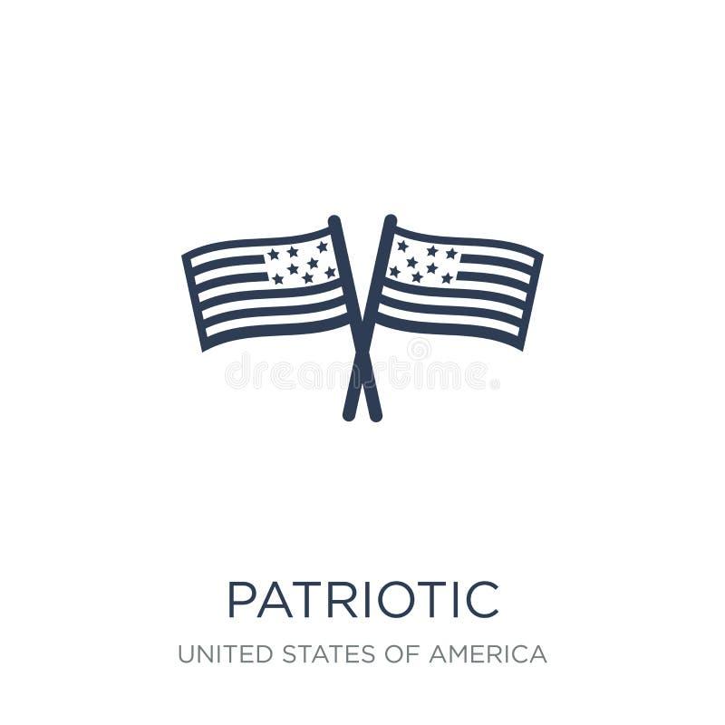 Patriottisch pictogram In vlak vector patriottisch pictogram op witte backg stock illustratie