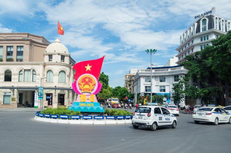Patriottische banner in Hanoi, Vietnam royalty-vrije stock fotografie