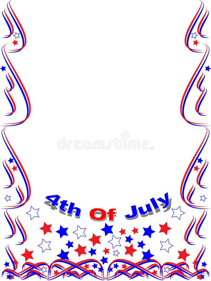 Patriottische frame grens 4de juli stock illustratie