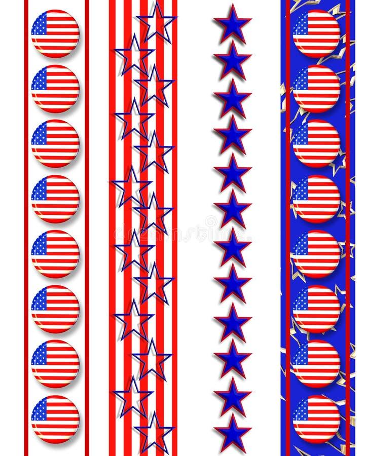 Patriottische grenzen vierde van Juli stock illustratie