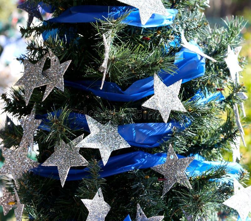 Patriottische Kerstmisboom in fort Myers, Florida, de V.S. royalty-vrije stock foto's