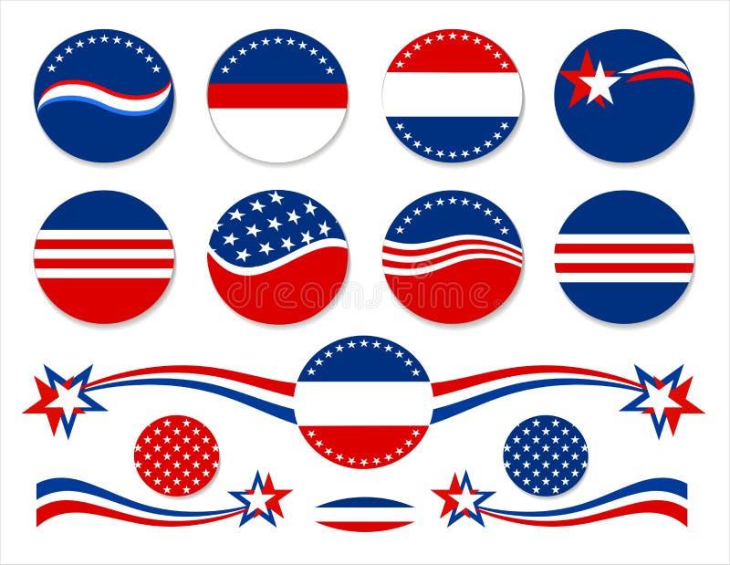 Patriottische Knopen - de V.S. royalty-vrije illustratie