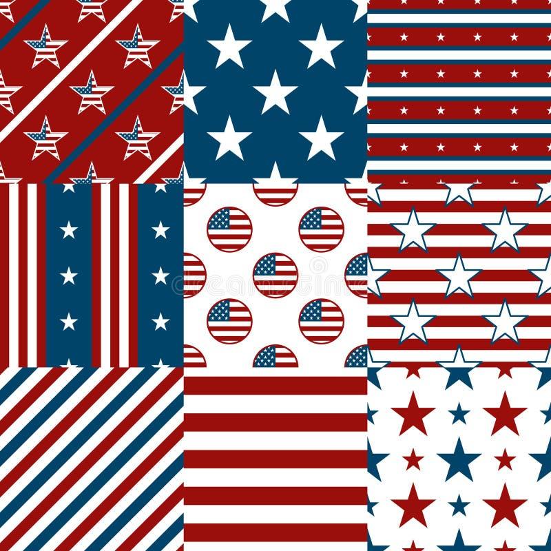 Patriottische rode, witte en blauwe geometrische naadloos stock illustratie