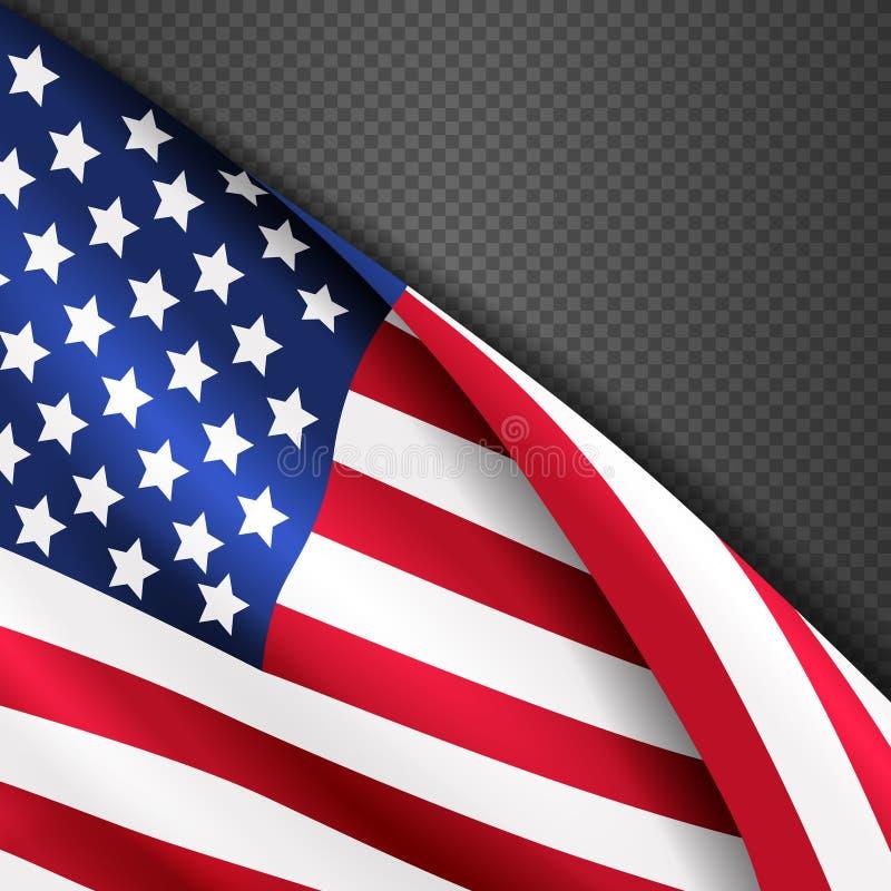 Patriottische vectorachtergrond met de Amerikaanse golvende vlag van de V.S. stock illustratie