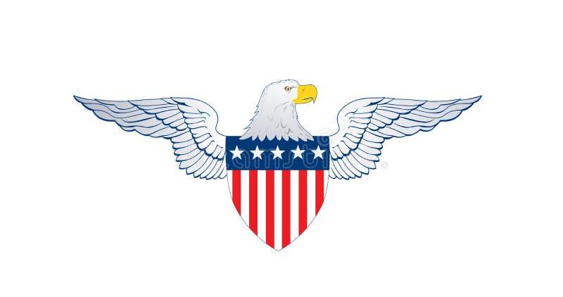 Patriotvingar, amerikanska flagganemblemsköld med band och stjärnor, Eagle huvud, självständighetsdagenbegrepp, vektorillustratio stock illustrationer