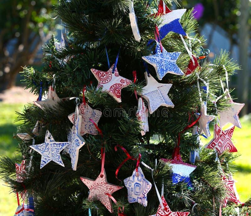 Patriotyczna choinka w forcie Myers, Floryda, usa zdjęcia stock