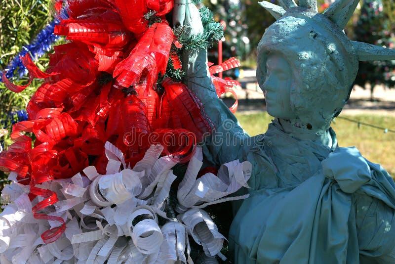 Patriotyczna choinka w forcie Myers, Floryda, usa obrazy royalty free