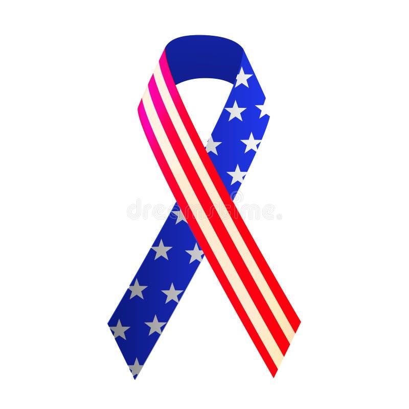 Patriotyczna czerwień, biel i błękitny faborek dla, 4th Lipiec lub dzień pamięci royalty ilustracja