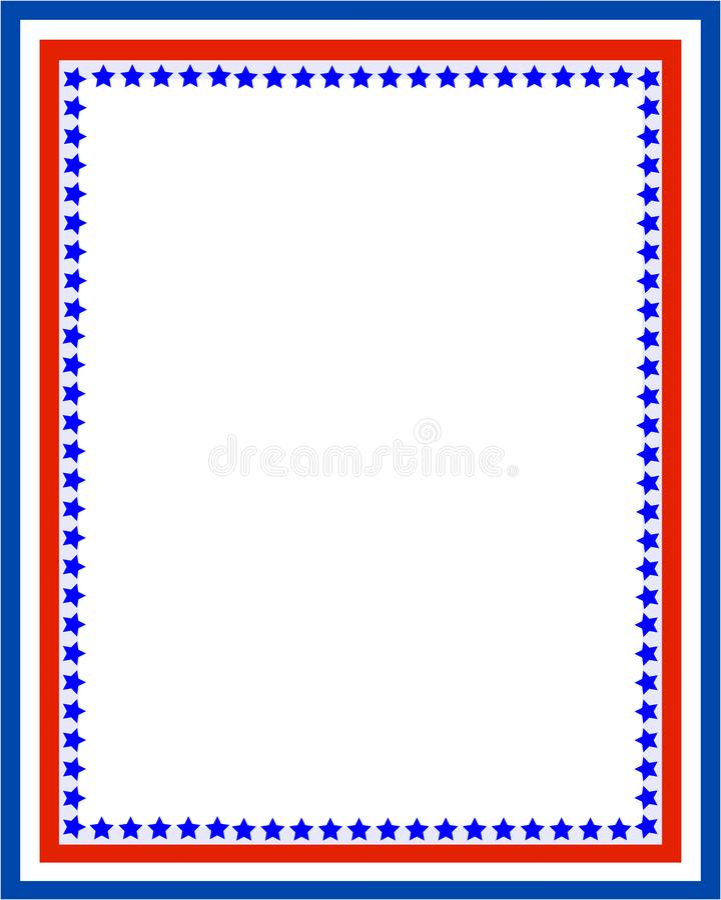 Patriotyczna granicy rama z usa flaga symbolami ilustracji