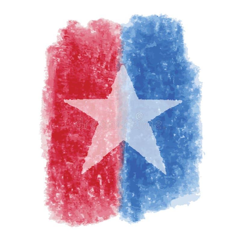 Patriotyczna Gwiazdowa akwarela ilustracja wektor