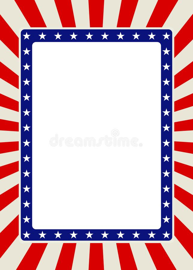 Patriotyczna ramy granica z gwiazdami i czerwień promieniami zdjęcia royalty free