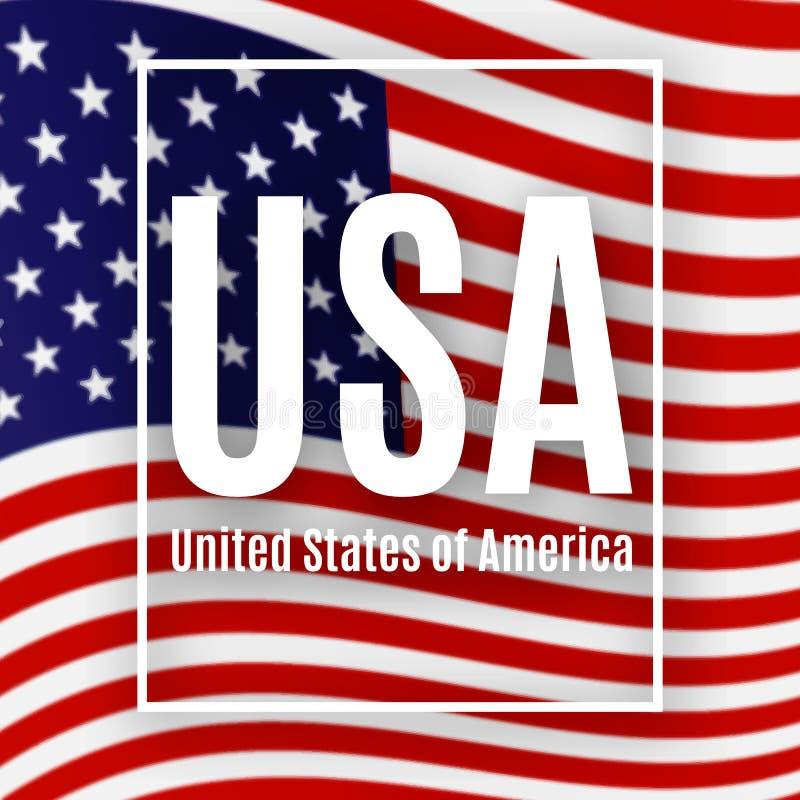Patriotyczny Amerykański plakat z teksta usa tło flaga amerykańska wzoru plakat dla dnia niepodległości prezydenta dnia royalty ilustracja