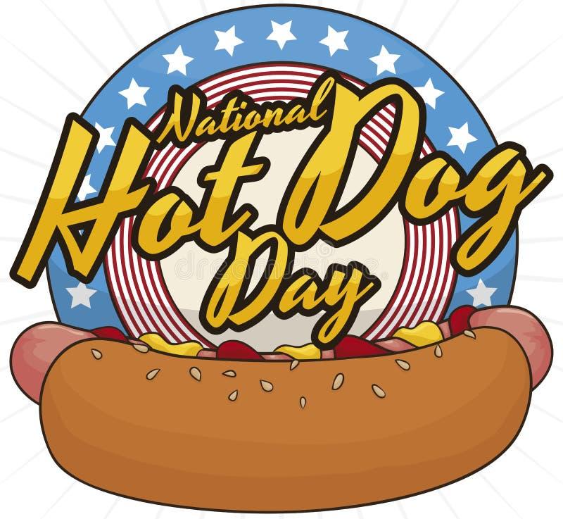 Patriotyczny guzik Świętować Amerykańskiego Krajowego hot dog dzień, Wektorowa ilustracja ilustracji