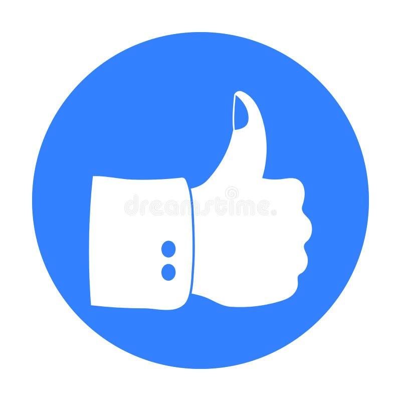 Patriotyczny kciuk w górę ikony w czerń stylu odizolowywającym na białym tle Patriota dnia symbolu zapasu wektoru ilustracja royalty ilustracja
