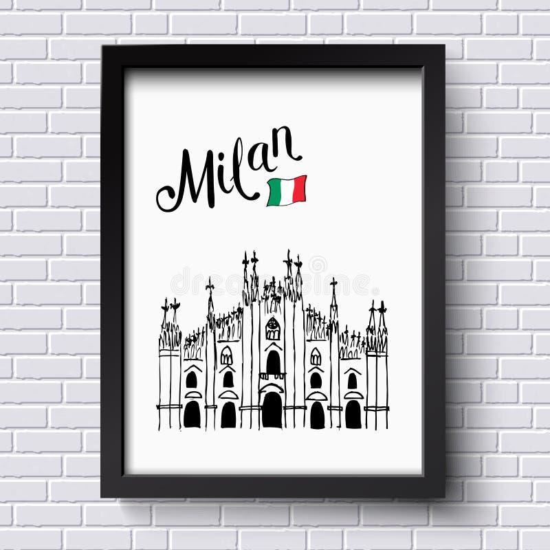 Patriotyczny lub podróż plakatowy projekt dla Mediolan ilustracja wektor