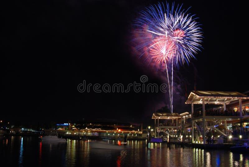 patriotyczny Miami fajerwerki obrazy royalty free