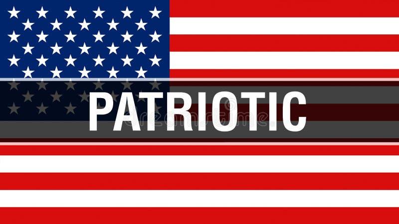 Patriotyczny na usa flagi tle, 3D rendering Zlani stany Ameryka zaznaczają falowanie w wiatrze Dumny flagi amerykańskiej falowani ilustracji