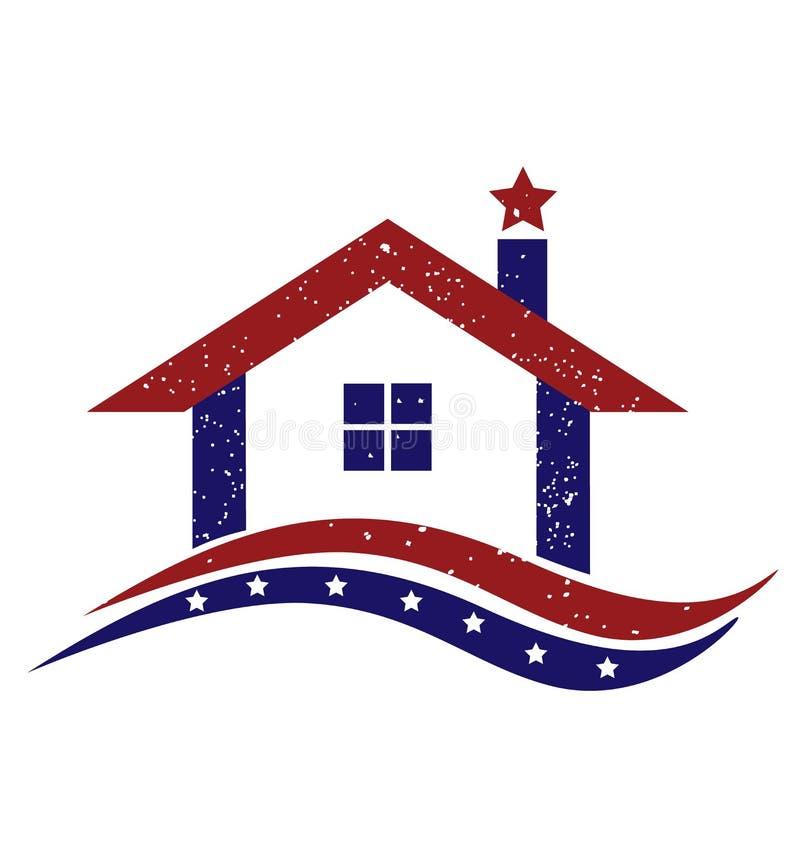 Patriotyczny usa dom ilustracji
