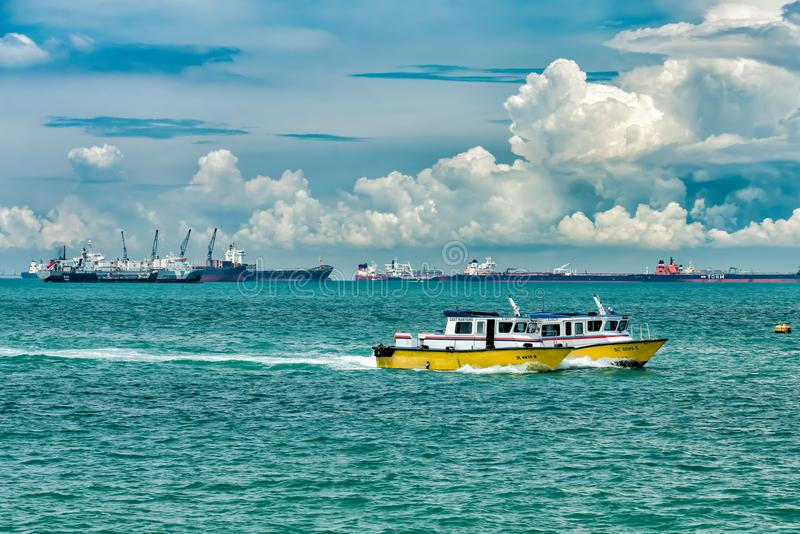 Patrol Boats in Singapore. On their way back port royalty free stock photography