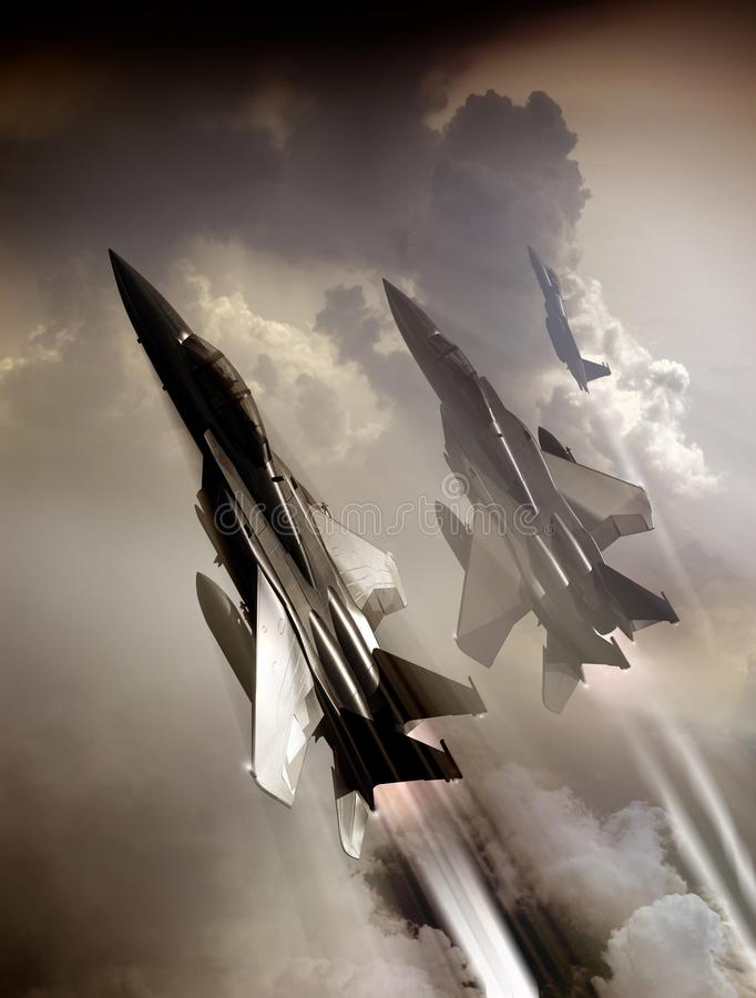 Free Patrol Of Fighters F15 Flying High Stock Photography - 144667762