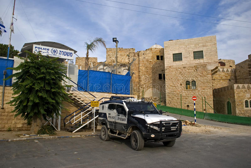Patrolcar israélien, Hebron, Palestine photo libre de droits