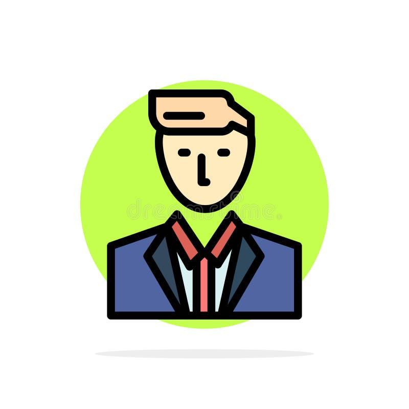 Patron, CEO, chef, chef, icône plate de couleur de M. Abstract Circle Background illustration stock