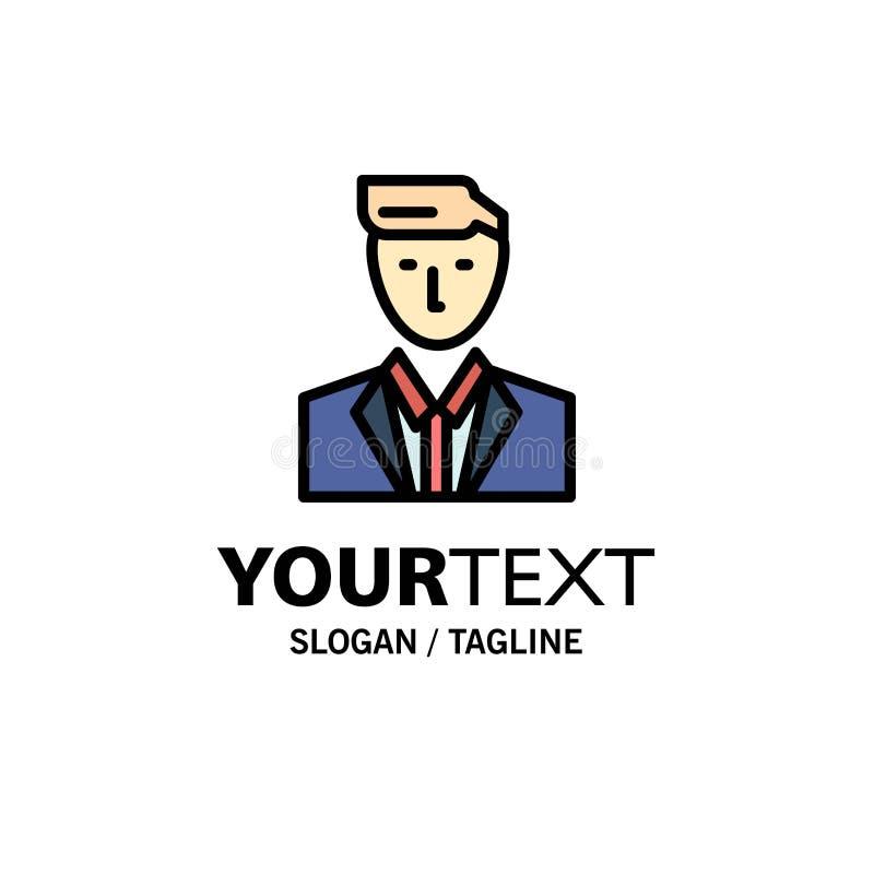 Patron, CEO, chef, chef, M. Business Logo Template couleur plate illustration de vecteur