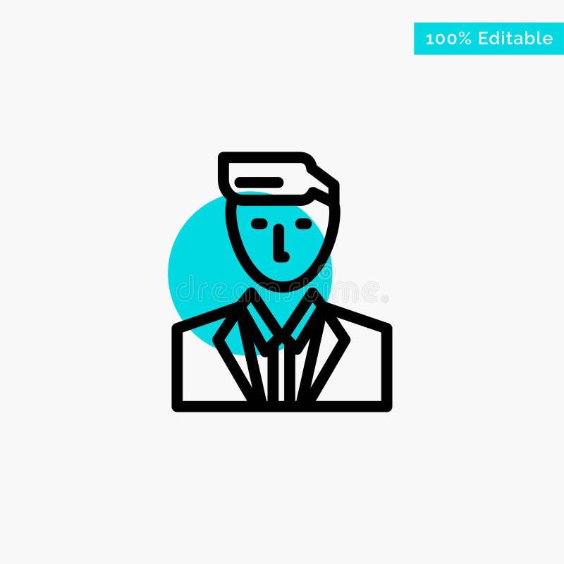 Patron, CEO, chef, chef, M. icône de vecteur de point de cercle de point culminant de turquoise illustration libre de droits
