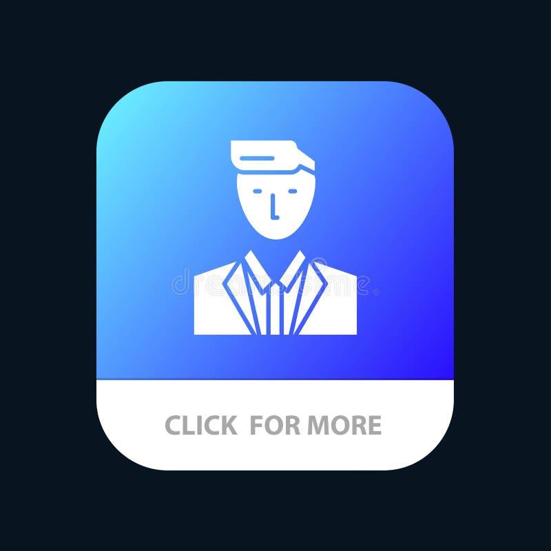 Patron, CEO, chef, chef, M. Mobile App Button Android et version de Glyph d'IOS illustration de vecteur